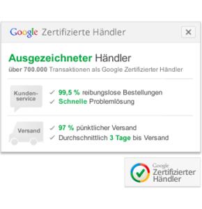 Darstellung Gütesiegel Google Zertifizierte Händler