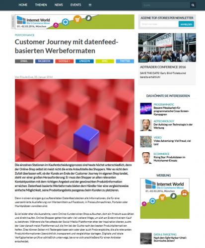 Adzine | Customer Journey mit datenfeedbasierten Werbeformaten