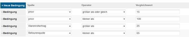 Produkte anhand von KPIs filtern